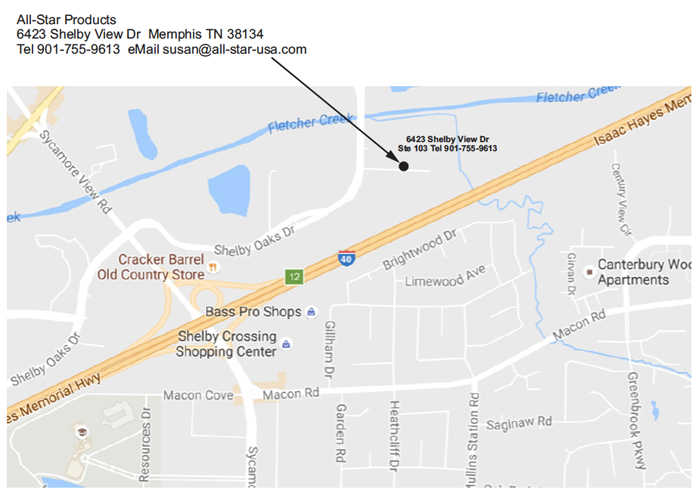 Directions to the All-Star Products Warehouse off of I40 - Sycamore View Exit on the North side